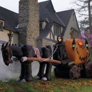 Grim Reaper Pumpkin and Carriage Inflatable
