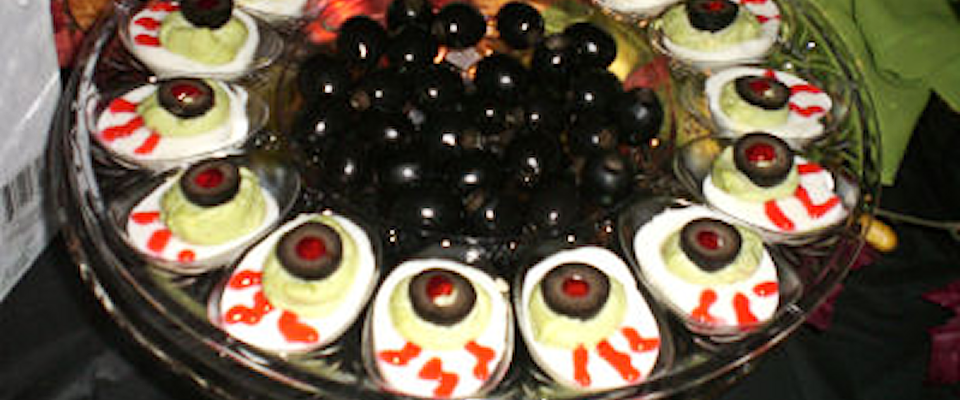 Scary Foods for Halloween -- Blood Shot Deviled Eggs